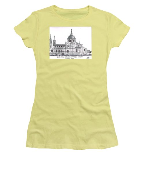 Women's T-Shirt (Junior Cut) featuring the drawing Madrid Cathedral Aimudena by Frederic Kohli