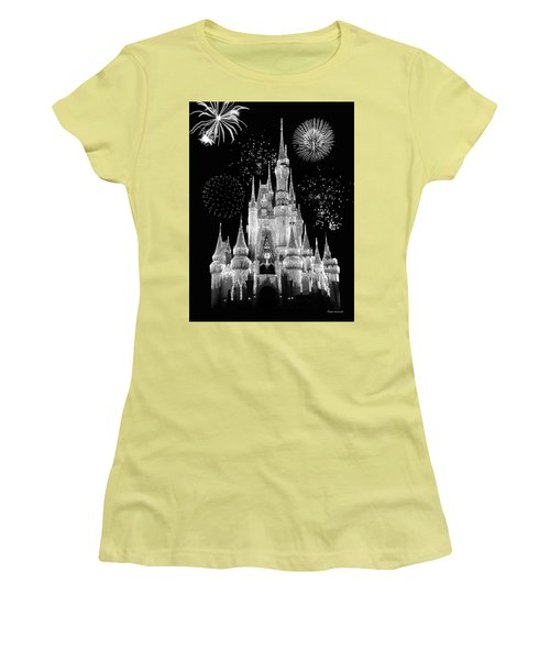 Magic Kingdom Castle In Black And White With Fireworks Walt Disney World Mp Women's T-Shirt (Junior Cut) by Thomas Woolworth