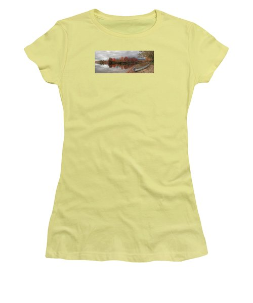 Maine Lake In Autumn Women's T-Shirt (Athletic Fit)
