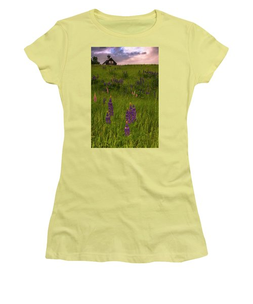 Maine Lupines And Home After Rain And Storm Women's T-Shirt (Junior Cut) by Ranjay Mitra