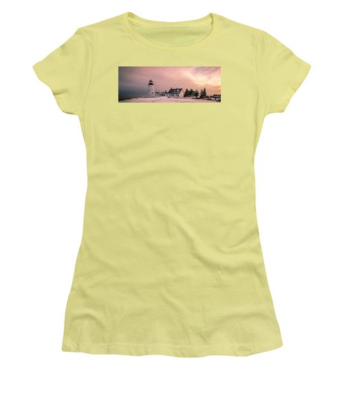 Maine Pemaquid Lighthouse After Winter Snow Storm Women's T-Shirt (Athletic Fit)