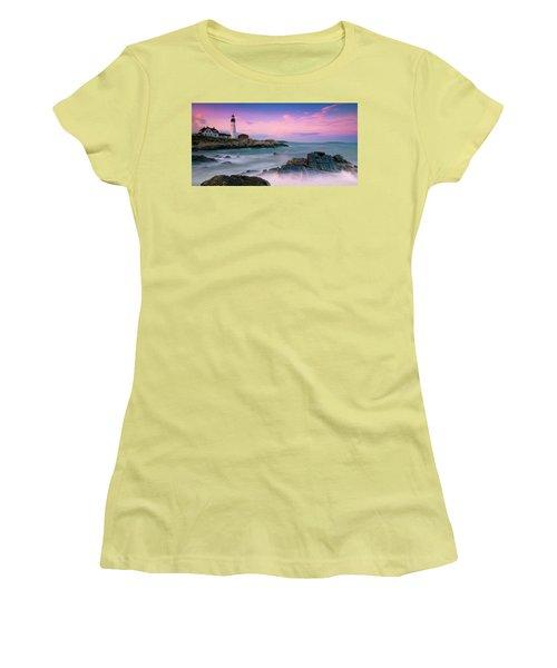 Maine Portland Headlight Lighthouse At Sunset Panorama Women's T-Shirt (Junior Cut) by Ranjay Mitra