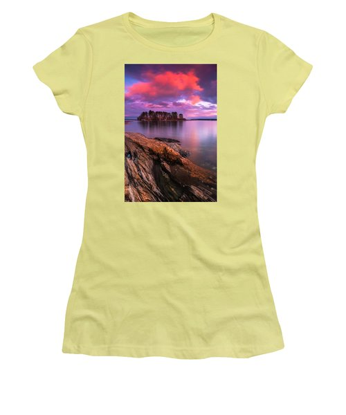 Maine Pound Of Tea Island Sunset At Freeport Women's T-Shirt (Junior Cut) by Ranjay Mitra