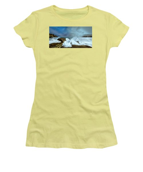 Maine Rocky Coast During Storm At Two Lights Women's T-Shirt (Junior Cut) by Ranjay Mitra