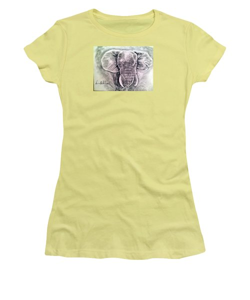 Women's T-Shirt (Junior Cut) featuring the painting Majestic Elephant by Brindha Naveen