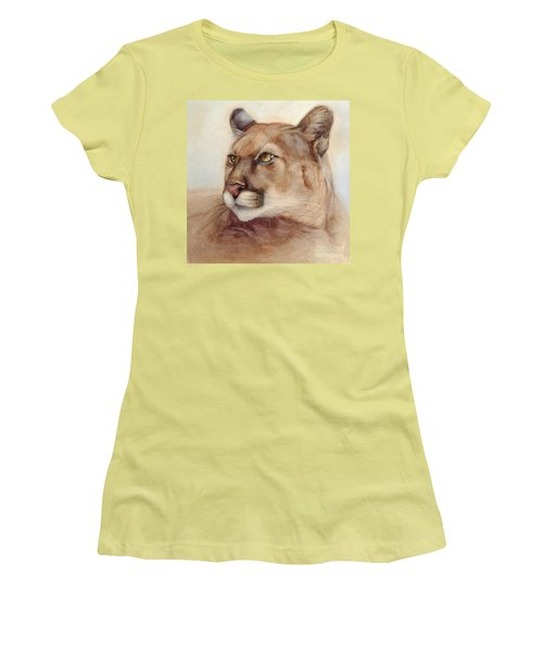 Male Cougar Women's T-Shirt (Junior Cut) by Bonnie Rinier