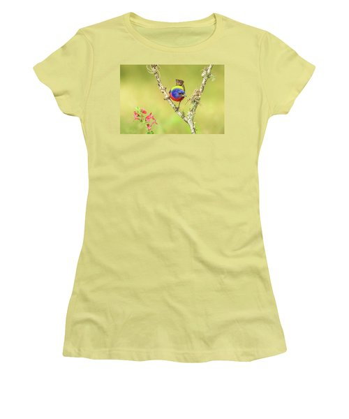 Male Painted Bunting #2 Women's T-Shirt (Junior Cut) by Tom and Pat Cory