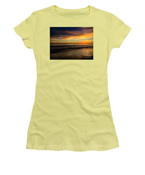 Malibu Beach Sunset Women's T-Shirt (Junior Cut) by Chris Tarpening