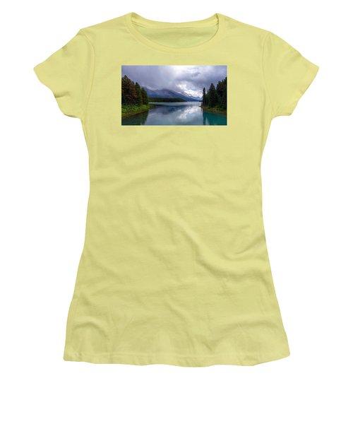 Maligne Lake Women's T-Shirt (Junior Cut) by Heather Vopni