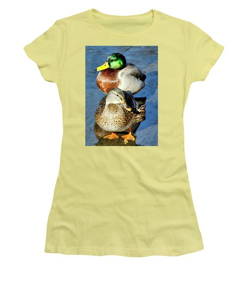 Mallard Couple Women's T-Shirt (Athletic Fit)