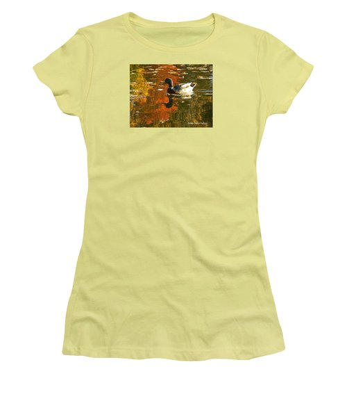 Women's T-Shirt (Junior Cut) featuring the photograph Mallard Duck In The Fall by Emmy Marie Vickers