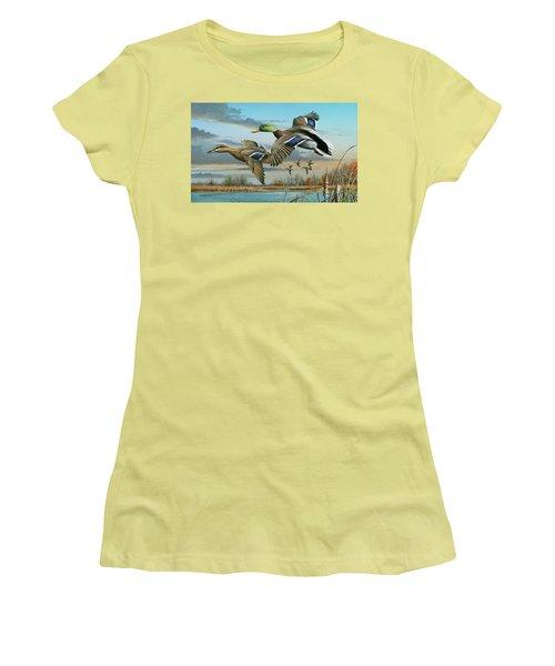 Mallards In Flight Women's T-Shirt (Junior Cut) by Mike Brown