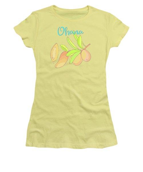 Mango Ohana Tropical Hawaiian Design Of Fruit And Family Women's T-Shirt (Junior Cut)