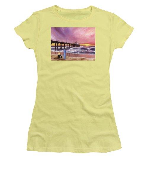 Women's T-Shirt (Junior Cut) featuring the painting Manhattan Beach Pier by Jamie Frier