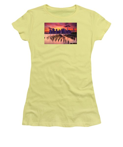 Women's T-Shirt (Junior Cut) featuring the photograph Manhattan Sunset by Rima Biswas