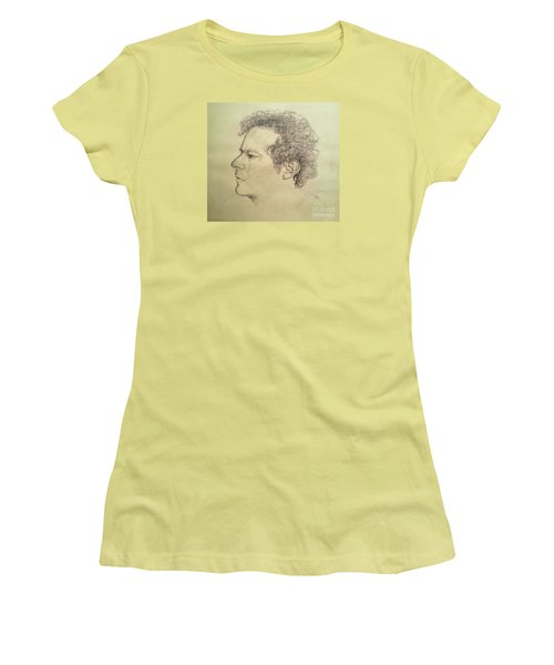 Women's T-Shirt (Junior Cut) featuring the drawing Man's Head Classic Study by Maja Sokolowska