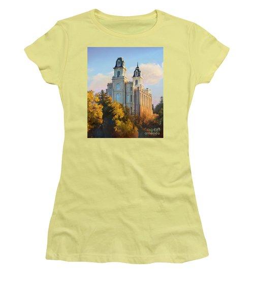 Manti Temple Tall Women's T-Shirt (Junior Cut) by Rob Corsetti