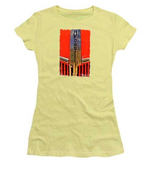 Manzanar Fire Truck Hood And Grill Detail Women's T-Shirt (Junior Cut)