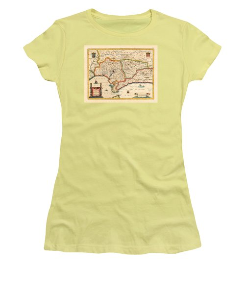 Map Of Andalusia 1650 Women's T-Shirt (Junior Cut) by Andrew Fare