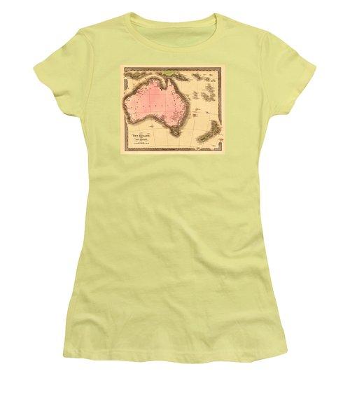 Map Of Australia 1840 Women's T-Shirt (Junior Cut) by Andrew Fare