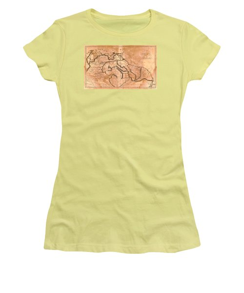 Map Of Caracas 1814 Women's T-Shirt (Junior Cut) by Andrew Fare