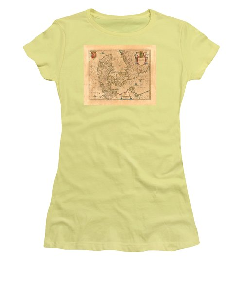 Map Of Denmark 1645 Women's T-Shirt (Junior Cut) by Andrew Fare