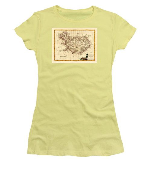 Map Of Iceland 1791 Women's T-Shirt (Junior Cut) by Andrew Fare