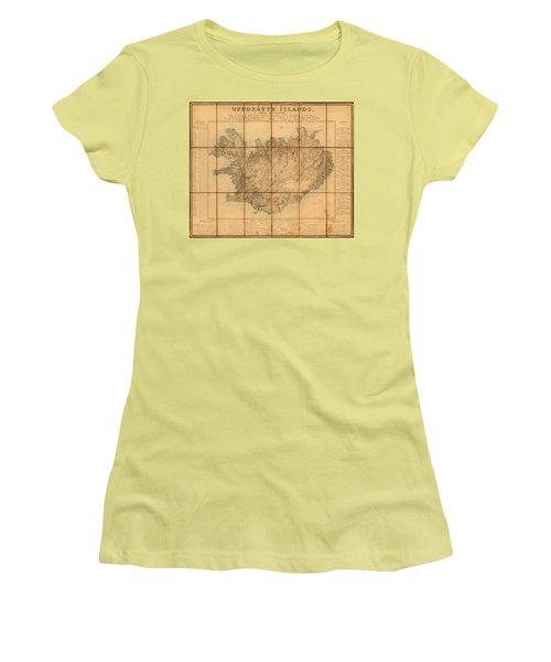 Map Of Iceland 1849 Women's T-Shirt (Junior Cut) by Andrew Fare