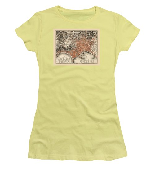 Map Of Naples 1860 Women's T-Shirt (Junior Cut) by Andrew Fare
