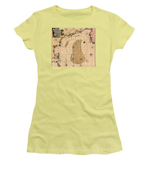 Map Of New England 1700 Women's T-Shirt (Junior Cut) by Andrew Fare
