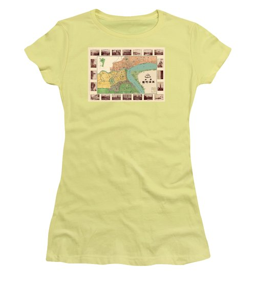 Map Of Shanghai 1908 Women's T-Shirt (Junior Cut) by Andrew Fare