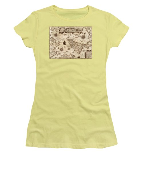 Map Of Sicily 1594 Women's T-Shirt (Junior Cut) by Andrew Fare