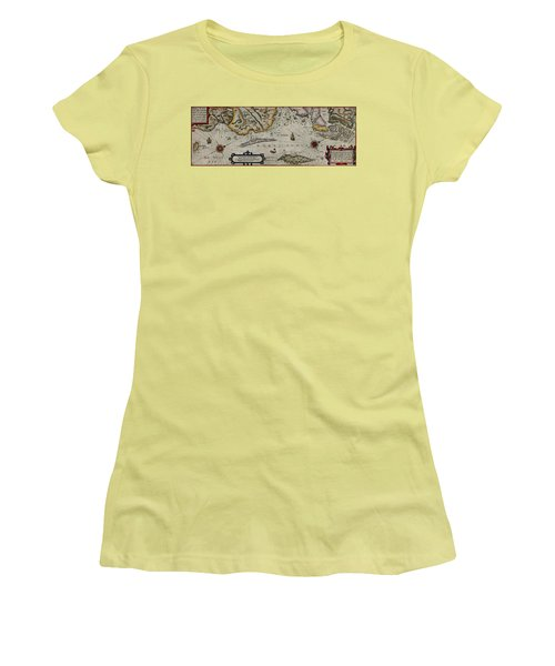 Map Of Sweden 1606 Women's T-Shirt (Junior Cut) by Andrew Fare