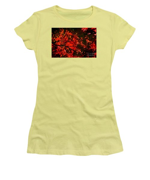 Maple Dance In Red Women's T-Shirt (Junior Cut) by Paul Cammarata
