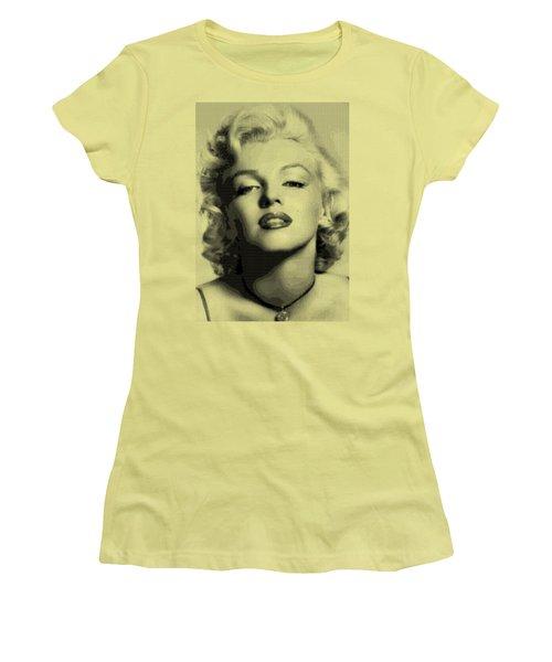 Marilyn Monroe - Bw Hexagons Women's T-Shirt (Junior Cut) by Samuel Majcen