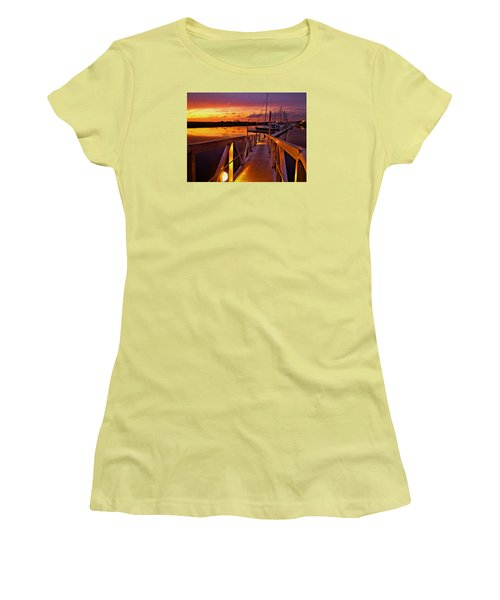 Women's T-Shirt (Junior Cut) featuring the photograph Marina Sunset by Laura Ragland