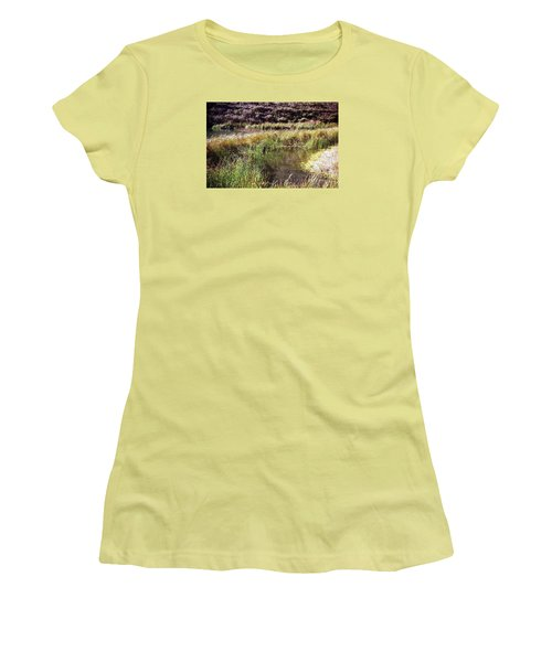 Marine Headlands Pond And Flowers Women's T-Shirt (Junior Cut) by Ted Pollard