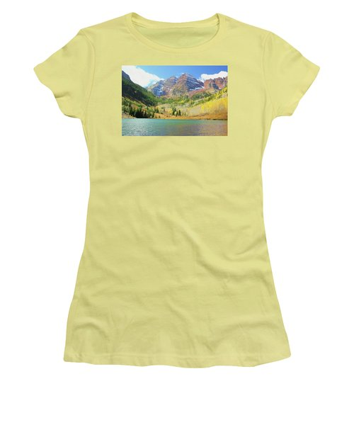 Women's T-Shirt (Junior Cut) featuring the photograph The Maroon Bells Reimagined 2 by Eric Glaser