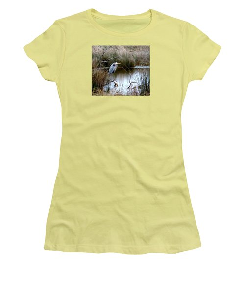 Marsh Pond Great Blue Heron Women's T-Shirt (Junior Cut) by Phyllis Beiser