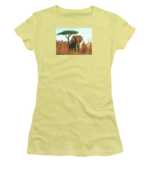 Women's T-Shirt (Junior Cut) featuring the painting Marsha's Elephant by Donna Dixon