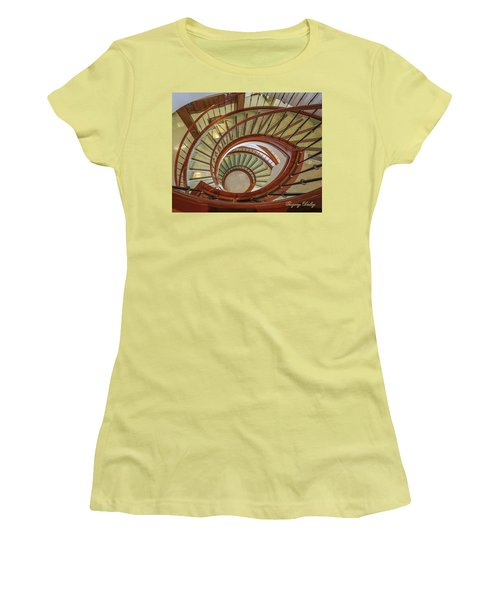 Women's T-Shirt (Junior Cut) featuring the photograph Marttin Hall Spiral Stairway by Gregory Daley  PPSA