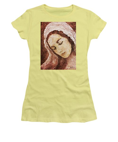 Mary Mother Of Jesus Women's T-Shirt (Junior Cut) by AmaS Art