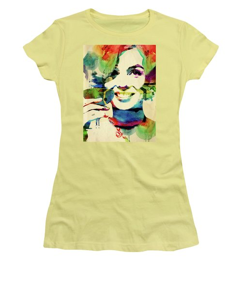 Marilyn And Her Drink Women's T-Shirt (Junior Cut) by Mihaela Pater
