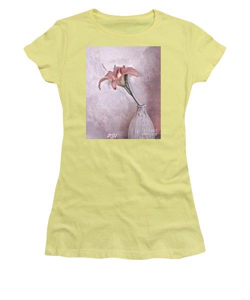 Mauve Lily Women's T-Shirt (Junior Cut) by Marsha Heiken