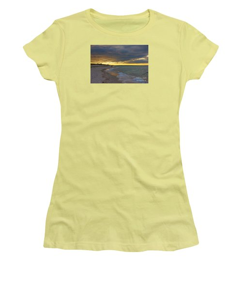 Women's T-Shirt (Junior Cut) featuring the photograph Mayflower Beach Walk by Amazing Jules