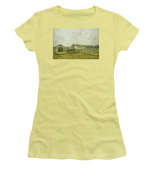 Mcpherson Barn And Cannon Gettysburg  Women's T-Shirt (Junior Cut) by Randy Steele