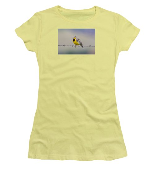 Meadowlark Stare Women's T-Shirt (Athletic Fit)