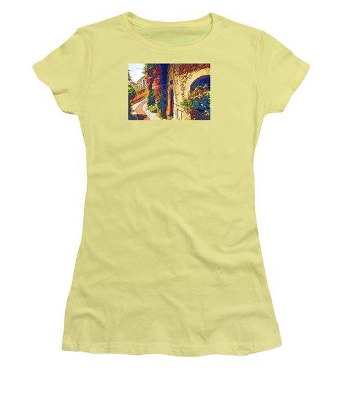 Women's T-Shirt (Junior Cut) featuring the photograph Medieval Saint-paul-de-vence by Dennis Cox WorldViews