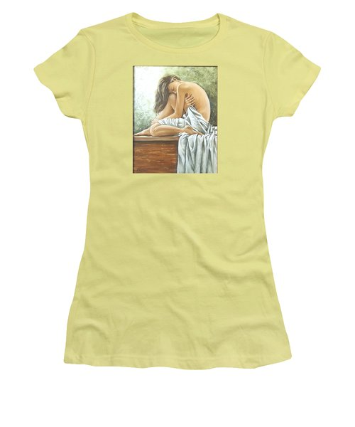 Women's T-Shirt (Junior Cut) featuring the painting Melancholy by Natalia Tejera