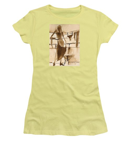 Women's T-Shirt (Junior Cut) featuring the painting Memories From Childhood by Maya Manolova